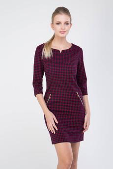 Бордовое платье в клеточку Marimay
