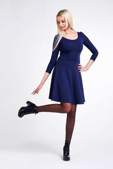 Темно-синее платье с рукавами Paola Rossi со скидкой