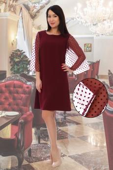 Бордовое платье с фатиновыми рукавами Натали